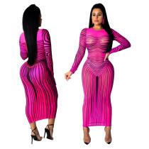 Vestido de manga larga estampado con mangas