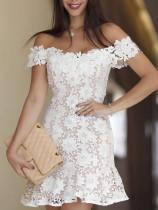 Weiße Blume Spitze Schulterfrei Partykleid