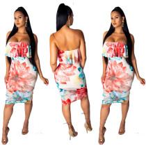 Strapless bloemen bodycon jurk