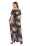 Plus Size Black Off Shoulder Floral Long Dress