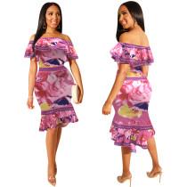 Floral Off Shoulder Bodycon-jurk