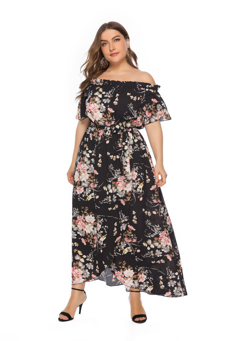 Plus Size Black Off Shoulder Floral Long Dress