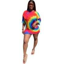 Camisa suelta larga con o-cuello colorido
