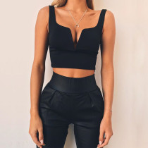 Sexy Crop Top mit V-Ausschnitt und breiten Trägern