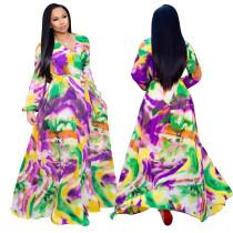 Robe longue enveloppante colorée à manches longues