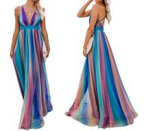 Robe longue colorée à bretelles avec col en V