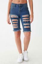 Short en jean déchiré bleu