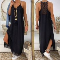 Vestido largo negro con detalles de encaje