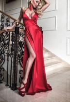 Sexy vestido largo halter dividida