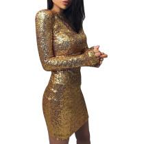 Gold Pailletten Langarm Minikleid