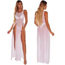 Vestido de malla larga dividida sexy sin mangas