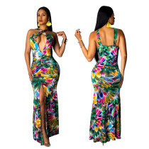 Criss Cross Sexy Flower - Langes, geteiltes Kleid