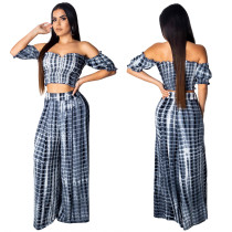 Snake Skin Strapless Top and Wide Trousers