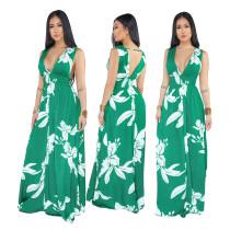 Vestido largo de flores sin mangas con cuello en V