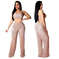 Sequins Bandeau Top and Loose Pants