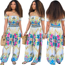 Floral Strapless Top and Split Loose Trousers