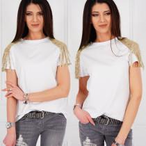 Chemise blanche à col rond avec épaules en sequins dorés