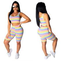 Chaleco y pantalones cortos de colores activos