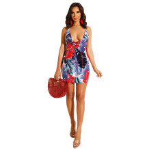 Print Sexy Plung Halter Mini Dress