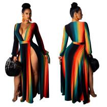 Vestido largo dividido sexy y profundo de V