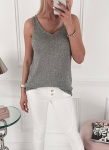 Dark Gray Knitted Casual Vest