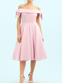 Off Shoulder Pink Pleated Event Dress