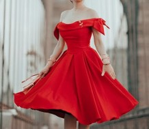 Off Shoulder Red Pleated Event Dress