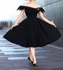 Off Shoulder Black Pleated Event Dress