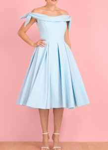 Off Shoulder Blue Pleated Event Dress
