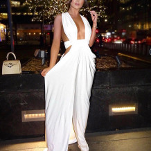 White Erotic Long Gown Evening Dress