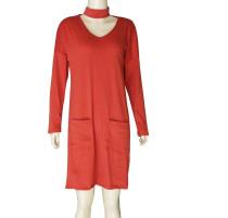 Lässiges Kleid mit geraden Taschen und vollen Ärmeln