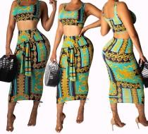 Imprimir Retro Crop Top e Midi Skirt