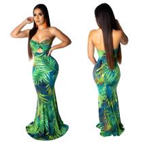 Drucken Sie grünes trägerloses Meerjungfrau-langes Kleid