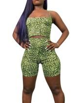 Sexy Leopard apertado Top Curto e Shorts