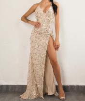 Paillettes sexy haute robe de soirée fendue