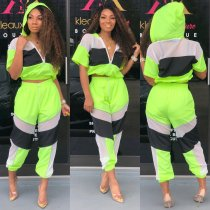 Summer Sports Neon Contrast Crop Top and Pants