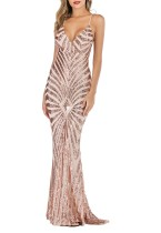 Summer Pink Sequins Straps Long Mermaid Evening Dress