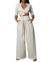 Sexy Plung Crop Top and Wide Pants