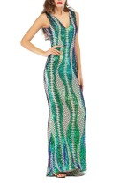 Sleeveless Sequins Mermaid Long Evening Dress