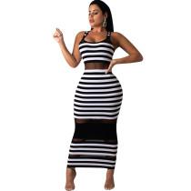 Tight Fitting Stripped Long Tank Dress