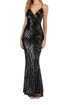 Summer Black Sequins Straps Long Mermaid Evening Dress