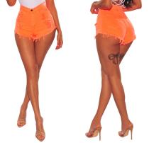 Pantalones cortos de mezclilla rasgados sexy de cintura alta