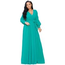 Maxi-jurk met lange mouwen en effen wikkel