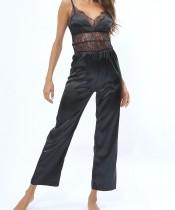Черное кружево Детальный шелковый ремень комбинезон пижамы
