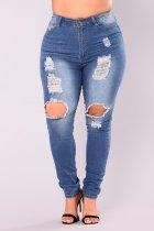 Blue Ripped Jeans uitwassen