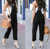 Casual Plain Bib Pants