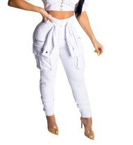 Stylish High Waist Tight Pocket Jeans