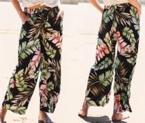 Seaside Print Loose Trousers