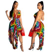 Vestido de club irregular colorido con espalda abierta