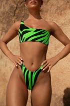 Ein Schulter zweiteilige Zebra-Badebekleidung